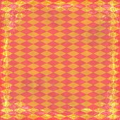 Orange Grunge Background. Abstract Vintage Texture With Frame And Border.