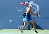Professional tennis player Caroline Wozniacki during first round match at US Open 2013