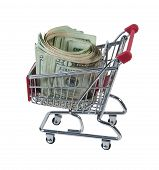 Roll Of Cash In A Shopping Cart