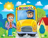 Image with school bus topic 4 - eps10 vector illustration.