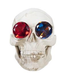 image of eye-sockets  - Skull with teeth and gems in the eye sockets  - JPG