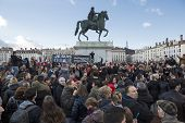 Lyon, France - January 11, 2015: Anti Terrorism Protest. 14