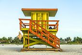 Life Guard Tower On South Beach, Miami, Florida