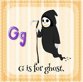 Illustration of an alphabet G is for ghost
