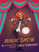 stock photo of ball cap  - Circus poster with magician sphere and magic show text vector illustration - JPG
