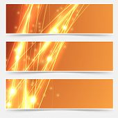 stock photo of shimmer  - Bright swoosh speed line abstract header set  - JPG