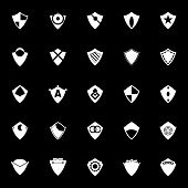 Design Shield Icons On Gray Background