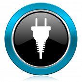 plug glossy icon electric plug sign