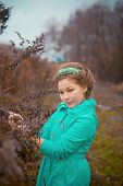 image of scared baby  - Portrait of baby girl in fairy forest - JPG