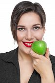 Beautiful Plus Size Woman With Green Apple Isolated