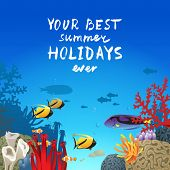 summer holidays background with coral reef landscape