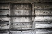 Old Wooden Window Shutters Closed, Close-up