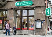 Tallinn,estonia - May 1: Tallinn Old Town On May 1,2014. Tourists In Tallinn Information Centre. It'
