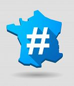 picture of hash  - Illustration of a France map icon with a hash tag - JPG