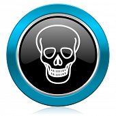 skull glossy icon death sign
