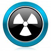 radiation glossy icon atom sign