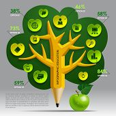 Education Template with pencil tree and green apple, web icons and place for your content. Concept vector illustration