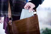 image of stealing  - Pickpocket Stealing a Wallet from a Leather Bag - JPG