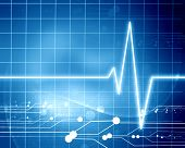 picture of blue-screen-of-death  - heart beat on display on a blue background - JPG