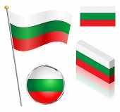picture of flag pole  - Bulgarian flag on a pole badge and isometric designs vector illustration - JPG