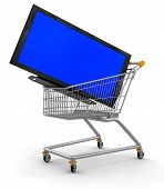 Shopping Cart and TV (clipping path included)