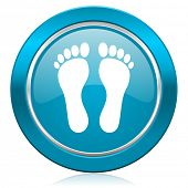 foot blue icon