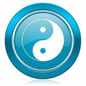 ying yang blue icon