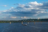 The Barge Floating In The Blue Dnieper Waters