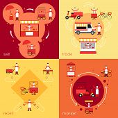 picture of food truck  - Street fast food flat icons set with resell sell market trade isolated vector illustration - JPG