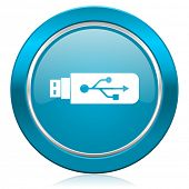 usb blue icon flash memory sign