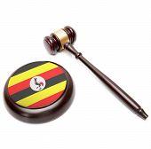 Judge Gavel And Soundboard With National Flag On It - Uganda