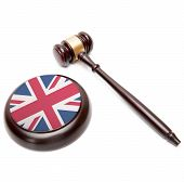 Judge Gavel And Soundboard With National Flag On It - United Kingdom