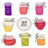 image of jar jelly  - The set of hand drawn jars with home - JPG