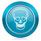 skull blue icon death sign