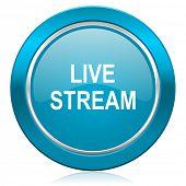 live stream blue icon