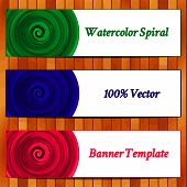 Vector Illustration of set watercolor banners.