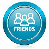 friends blue icon