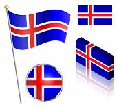 picture of flag pole  - Icelandic flag on a pole badge and isometric designs vector illustration - JPG
