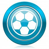 soccer blue icon football sign