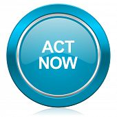 act now blue icon