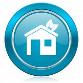 house blue icon ecological home symbol