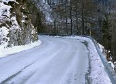 Frozen Mountain Road In Winter