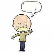 cartoon bald man with idea with speech bubble