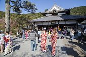 Tourists in Kimono at Kiyomizu-Dera temple