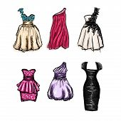 Vector Set Of Gorgeous Hand Drawn Evening And Prom Dresses