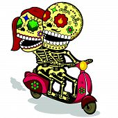 Funny skeletons_A love journey on a scooter