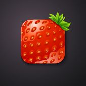 Strawberry texture icon stylized like mobile app. Vector illustr