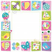 picture of ladybug  - illustration of butterflies hearts flowers ladybug bee robots presents boat and birds on colorful square shape frame and white background - JPG