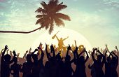 image of excite  - Summer Music Festival Beach Party Performer Excitement Concept - JPG