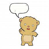 cartoon unhappy teddy bear with speech bubble
